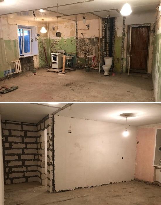Все межкомнатные перегородки были снесены и установлены новые стены. | Фото: news.myseldon.com.