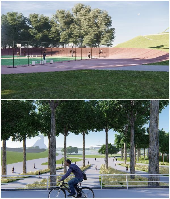 Основные объекты «Quzhou Sports Park» будут полностью интегрированы в ландшафт и превратятся в дополнительные спортивные площадки. | Фото: newatlas.com/ © MAD Architects.