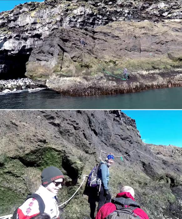 Туристов и отдыхающих при подъеме на плато страхуют сопровождающие (о.Эдлидаэй, Исландия). | Фото: youtube.com/ © Torz Film.