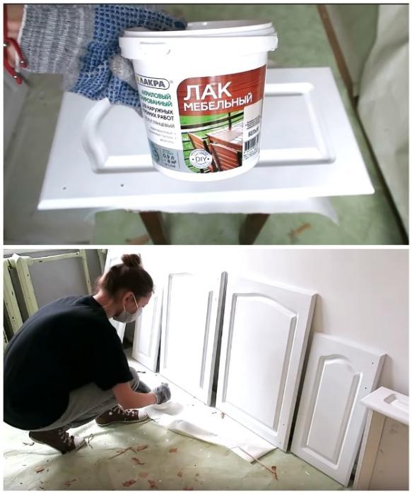 Чтобы мебель дольше сохраняла привлекательный вид, ее лучше вскрыть специальным лаком.   Фото: youtube.com/ Anna_Studio.