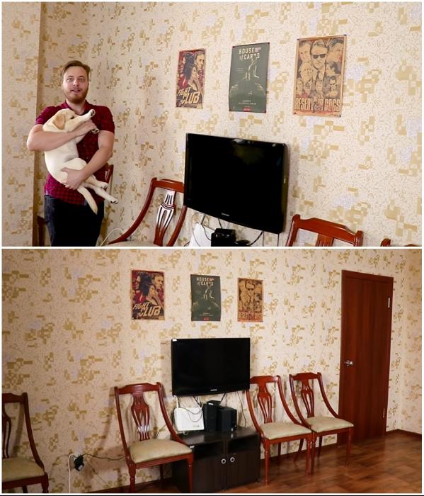 Так выглядела квартира-студия Ивана и его маленького друга до кардинального преобразования. | Фото: youtube.com/ © Fancy smth.