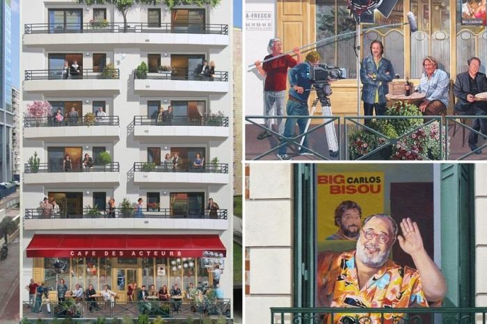 В несуществующих окнах и на открытых террасах кафе можно увидеть любимчиков публики и знаменитостей (Patrick Commecy & A.Fresco).   Фото: artofcare.ru.