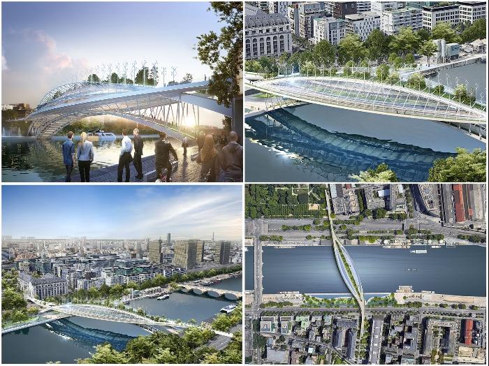 Скоро парижане смогут выращивать овощи и фрукты прямо на пешеходном мосту «Зеленая линия» (концепт Vincent Callebaut Architectures).