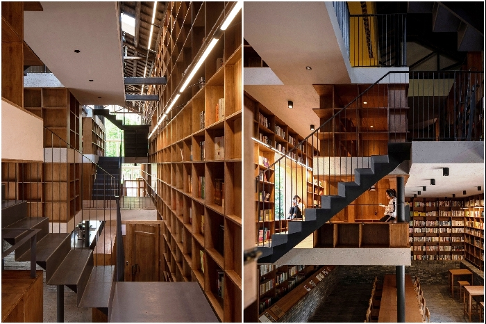 Внутреннее пространство разделили на несколько уровней, которые соединили лабиринтами лестниц («Liuyue Capsule Hotel», Китай). | Фото: archdaily.com.