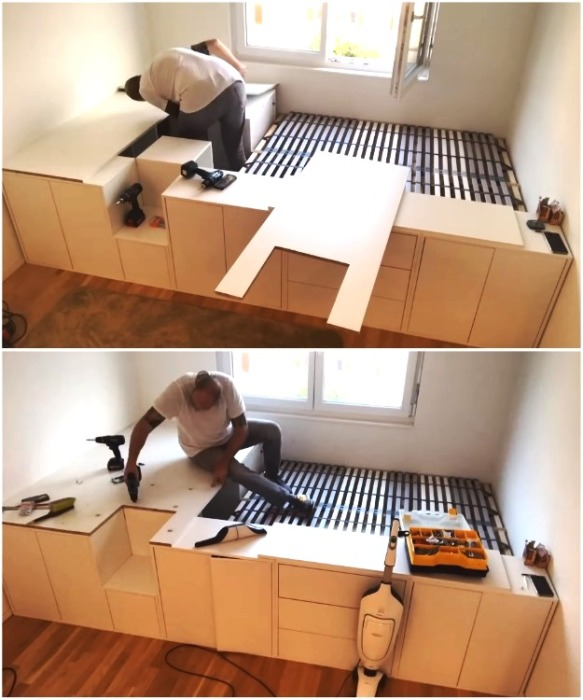 Плиты нужного размера обязательно закрепляют, чтобы образовавшаяся платформа не двигалась. | Фото: youtube.com/ DIY Floyd.