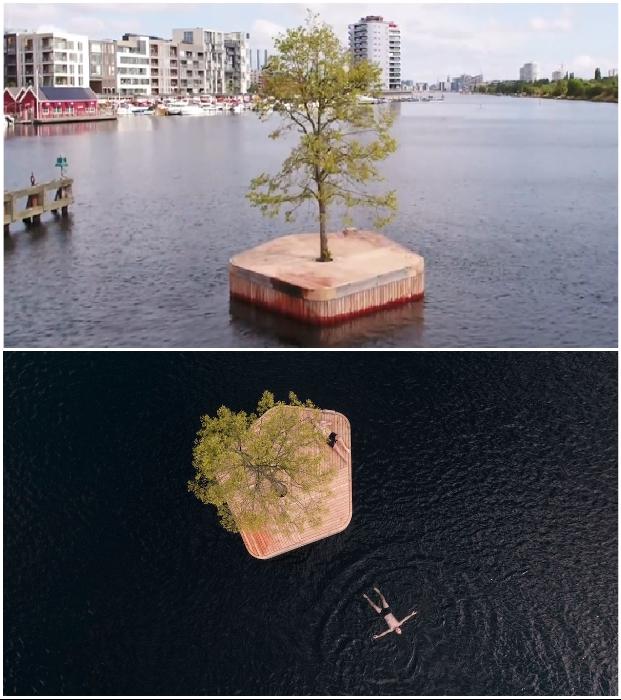 Летом к искусственному острову можно было добраться вплавь (Copenhagen islands, Дания).