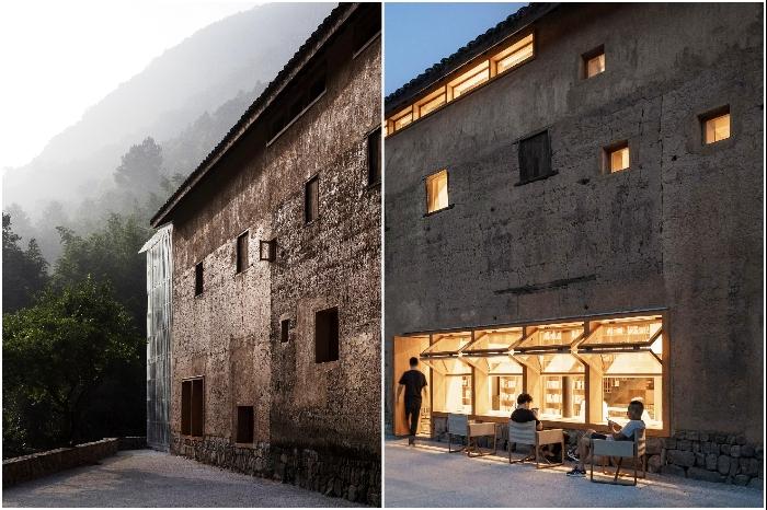 Глинобитные стены старинного здания решили не украшать и не осовременивать («Liuyue Capsule Hotel», Китай). | Фото: worldarchitecture.org.