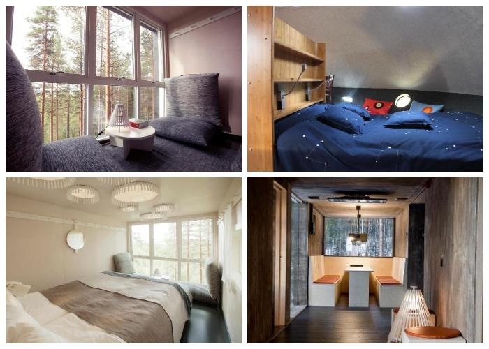 В каждом номере есть все необходимое для комфортного отдыха на лоне природы (Гостиничный комплекс Treehotel, Швеция).