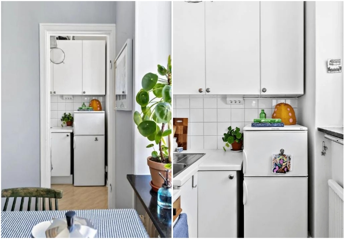 В квартире-студии удалось выделить крошечную кухню. | Фото: lemurov.net.
