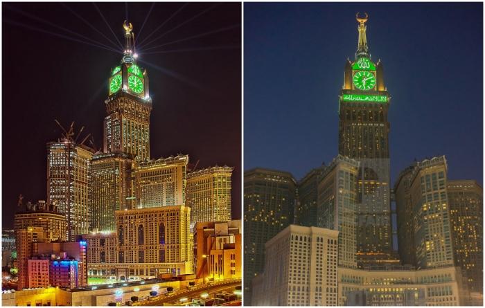 В ночное время на башне с часами загораются миллионы огней (Royal Clock Tower, Саудовская Аравия). | Фото: pinterest.co.uk/ worldstrides.com.