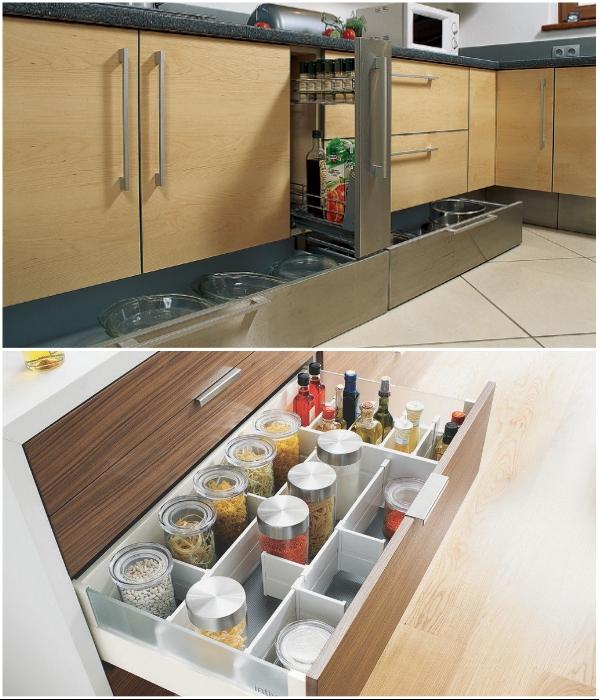 Нельзя выбирать мебель с очень большими выдвижными ящиками. | Фото: dizainkyhni.com/ roomester.ru.