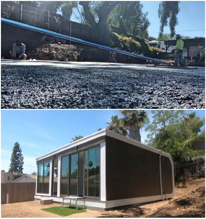 Для того, чтобы установить дом, достаточно сделать бетонную площадку (San Ramon, Калифорния). | Фото: blog.mightybuildings.com/ © Mighty Building.