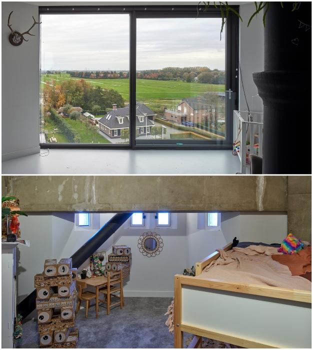 В жилых зонах каждой семьи обустроены детские и игровые комнаты (Watertower Nieuw Lekkerland, Нидерланды).