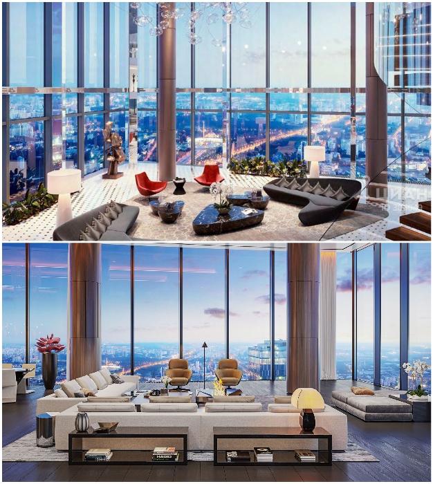 Так могут выглядеть гостиные комнаты в «Платиновых апартаментах» («Башня «Восток», Москва).