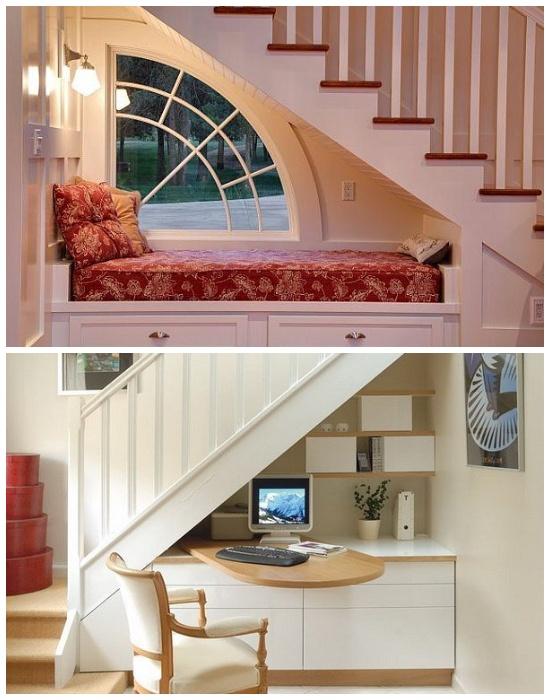 Пространство под лестницей можно использовать в качестве дополнительной зоны отдыха/детских игр или работы. | Фото: lestnitsy-perila.ru/ 02stroy.ru.