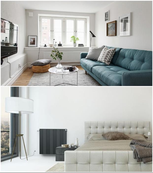 Отопительные радиаторы можно покрасить в цвет стен, хотя и контрастное оборудование смотрится стильно.