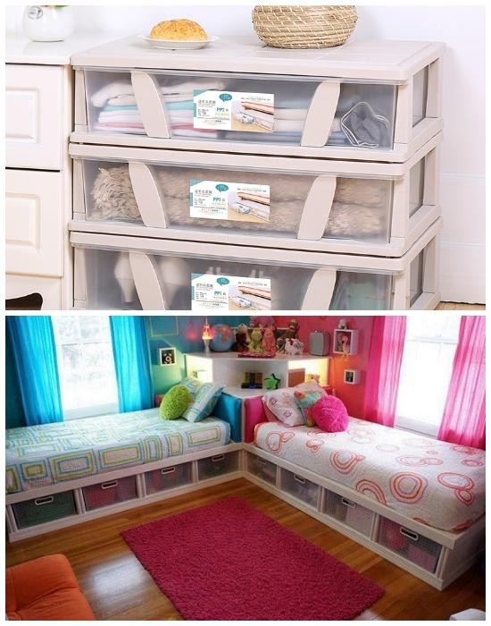 Вещи лучше хранить в прозрачных ящиках или контейнерах. | Фото: dress-express.com.ua.