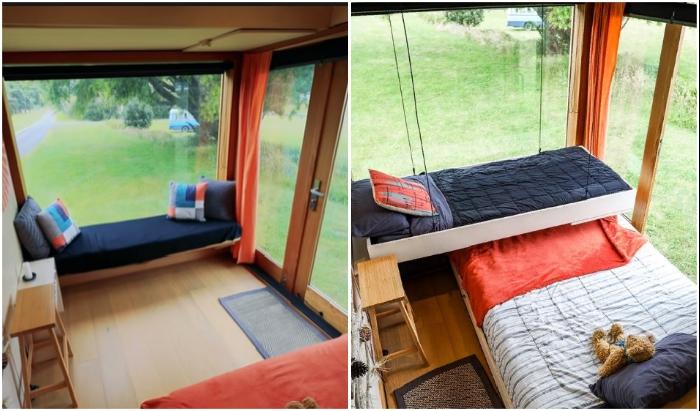 Вот так выглядит спальная зона в домике-грузовике в дневное и в ночное время. | Фото: instagram.com.