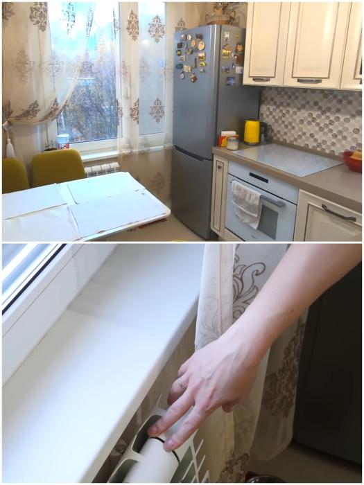 Чтобы увеличить полезную площадь и установить холодильник у окна, пришлось уменьшить подоконник. | Фото: youtube.com/ © Irin Andrez.