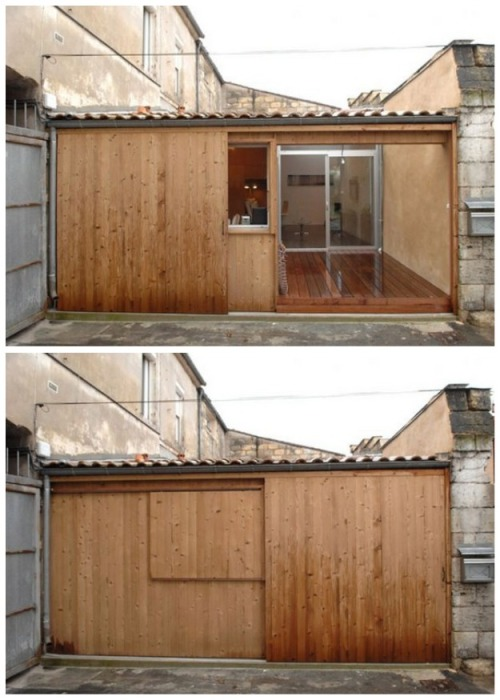 Стеклянные двери и большие окна можно спрятать за выдвижными деревянными системами. | Фото: worldinsidepictures.com.