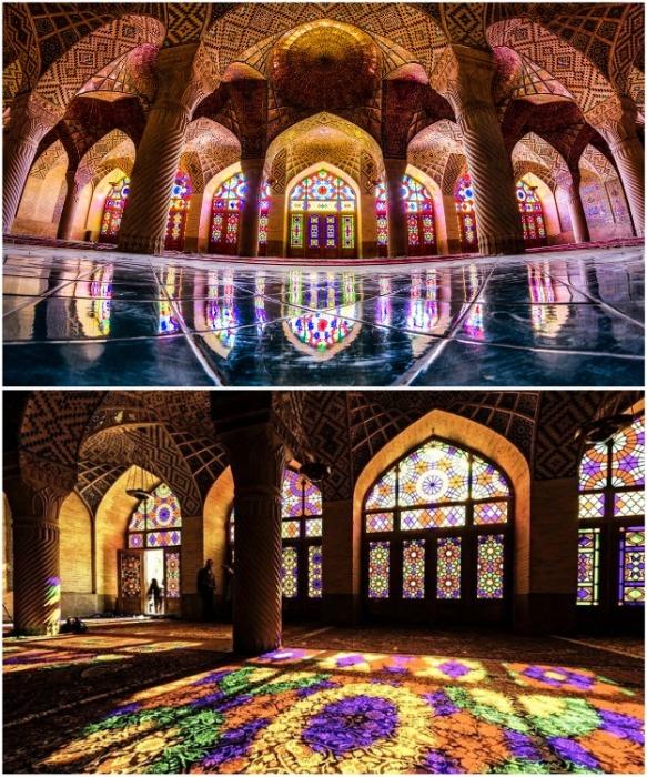В зимнее время мраморный пол покрывают разноцветными коврами (Nasir al-Mulk, Иран). | Фото: journal.homemania.ru.