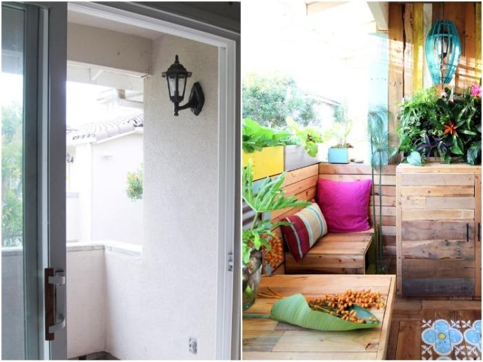Серому и неуютному балкону креативная пара решила прибавить красок, превратив в «радужный уголок». | Фото: ayudaadecorar.blogspot.com.