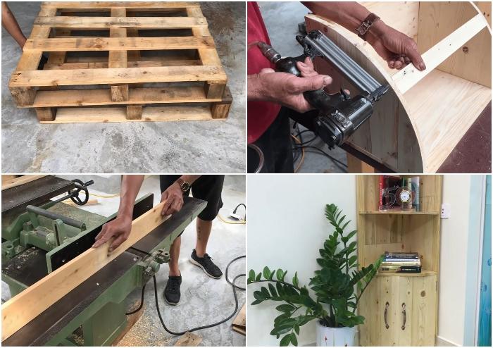 Из вторсырья тоже можно сделать угловой шкаф, который составит конкуренцию мебели из полноценного дерева. | Фото: youtube.com/ © Woodworking Tools.