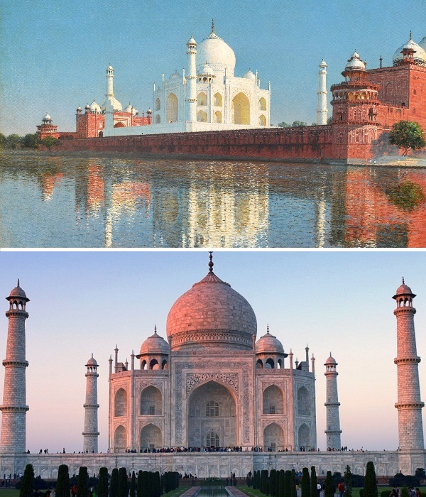 В зависимости от времени суток мавзолей меняет цвет (Тадж-Махал, Индия). | Фото: travel.tochka.net.