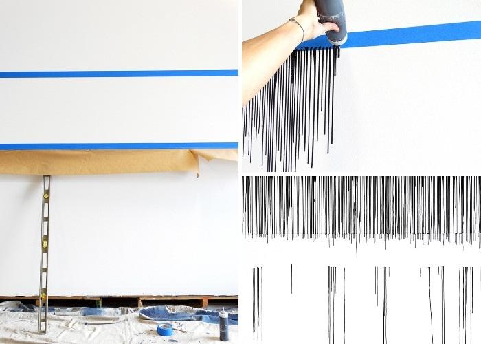 С помощью малярной ленты, бумаги и капель краски можно быстро и дешево создать эффектный интерьер.