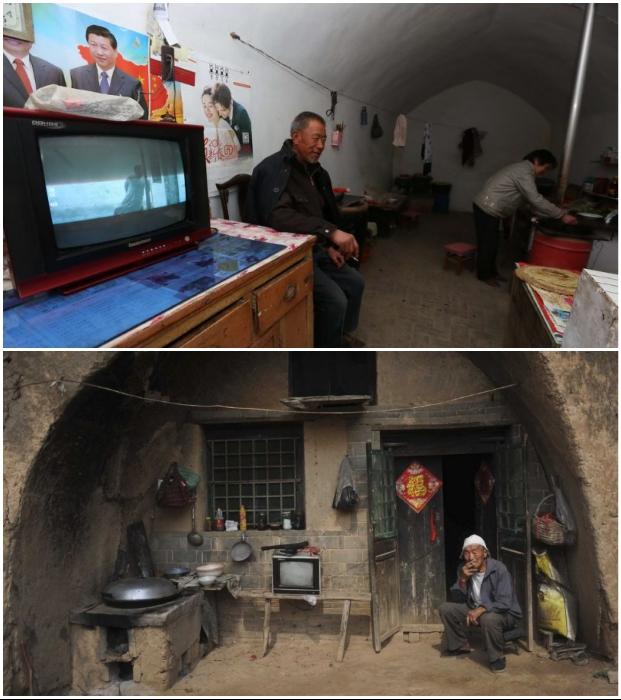 Сейчас у каждого китайского подземного жителя имеется телевизор, а молодежь пользуется интернетом. | Фото: intreesno.ru/ bigpicture.ru.