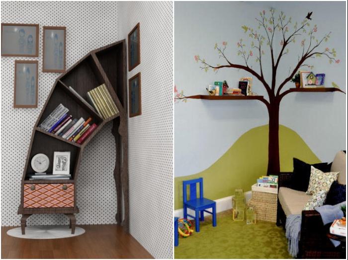 Оригинальные полки и необычные комоды станут украшением интерьера и помогут задействовать свободный угол. | Фото: 7dach.ru/ lemurov.net.
