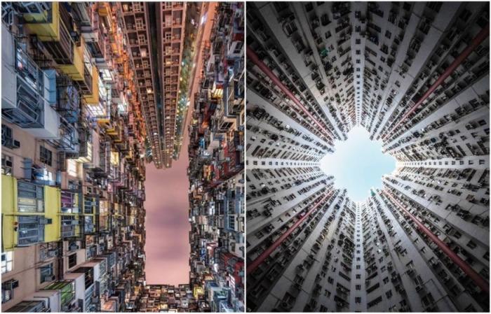 Вид на небо из внутренних дворов небоскребов в Макао и Гонконге (Китай). | Фото: instagram.com/ Lee Mumford.