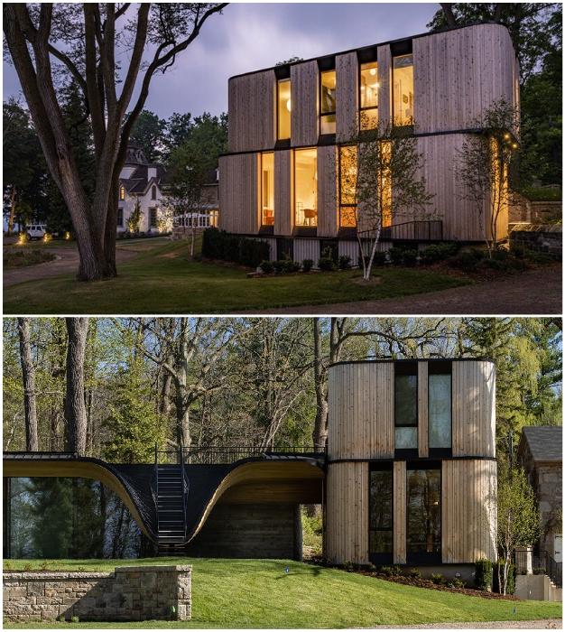 Жилые апартаменты тоже не имеют острых углов (Fold House, Гамильтон).