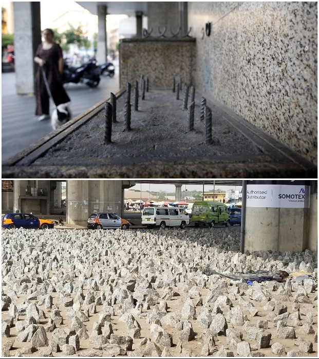 Острые камни и металлические прутья несут еще большую опасность и не только для бездомных.