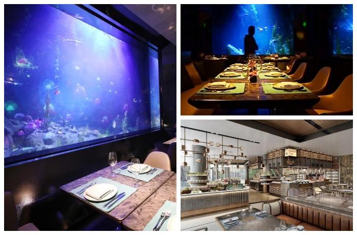 Подводный ресторан Mr Fisher в отеле Songjiang InterContinental.