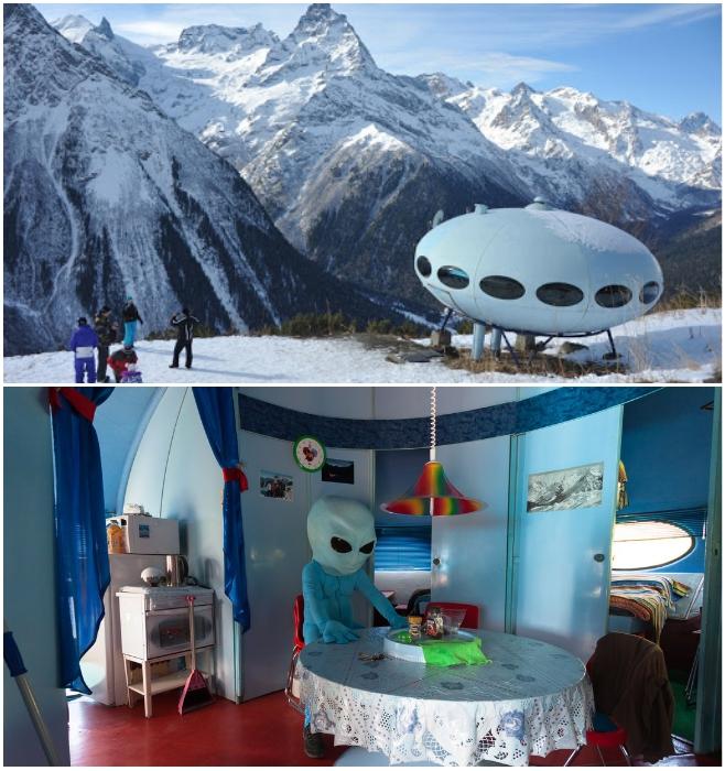 Высокогорная гостиница «Тарелка» курорта Домбай на склонах горы Мусса-Ачитара (Карачаево-Черкесская Республика). | Фото: kot-de-azur.livejournal.com.