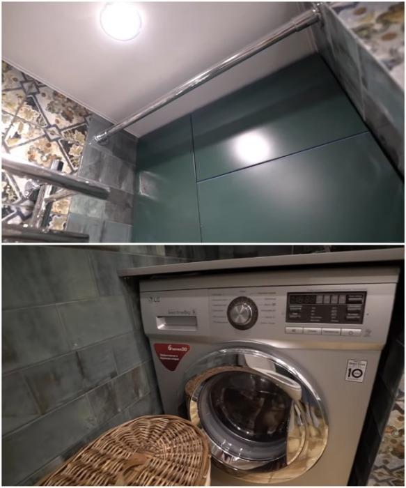 В ванной комнате сделали нишу, в которой поместилась стиральная машина и шкаф. | Фото: youtube.com/ INMYROOM TV.