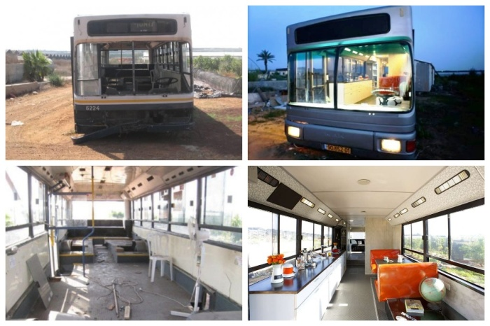 Списанный автобус превратился в комфортабельное жилье.