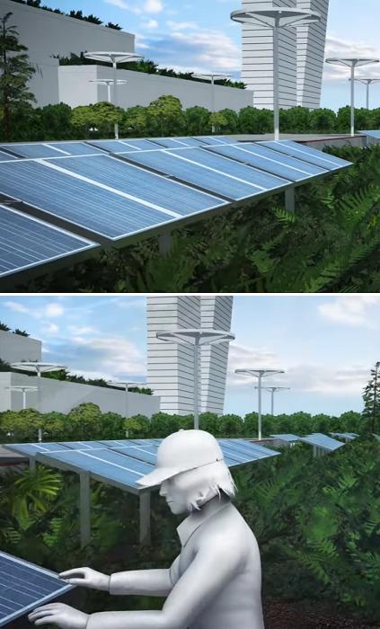 Самодостаточный эко-город будущего в окружении деревьев и растений