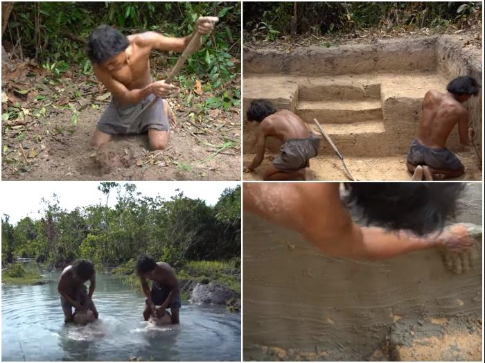 Процесс создания ямы под бассейн и облицовка его дна с помощью ила из озера. | Фото: youtube.com/ © Jungle Survival.
