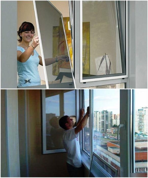 На все распашные окна лучше устанавливать москитные сетки. | Фото: lodgii-balkoni.my1.ru.