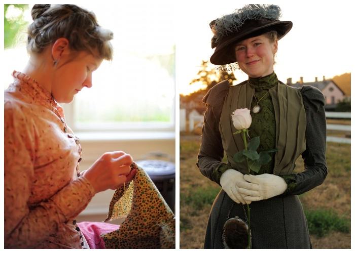 Все свои викторианские наряды Сара шьет сама.