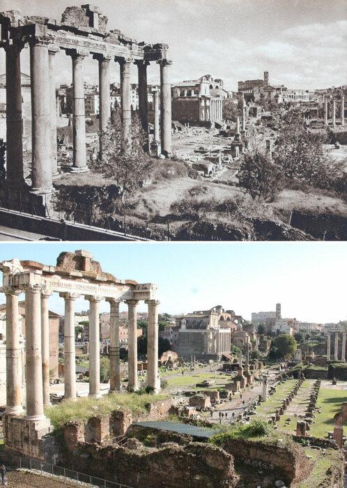Облик Храма Сатурна в Риме на фотографиях Курта Хильшера и Каспера Моленаара абсолютно не изменился (1925 и 2016 гг., Италия).  Фото: boredpanda.com.