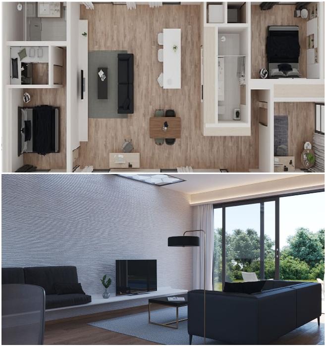 План и гостиная комната самого дорогого объекта, площадь которого составляет 134 кв. м (San Ramon, Калифорния). | Фото: dailymail.co.uk/ © Mighty Building.