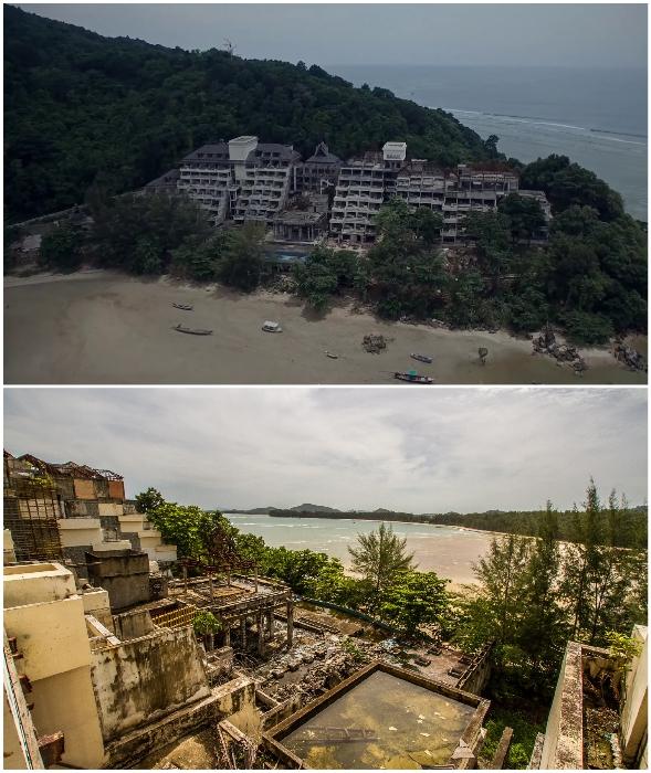 Недостроенный отель Phuket Peninsula Spa & Resort был заброшен на острове Пхукет в 2004 г. (Таиланд).