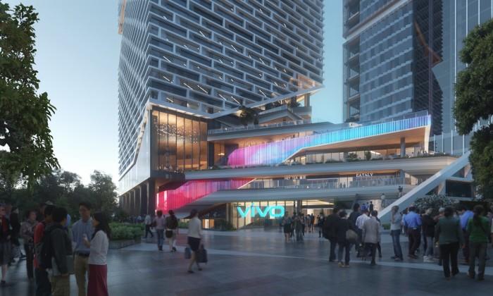 Новый небоскреб станет не только главным офисом Vivo, но и общегородским центром отдыха и проведения различных мероприятий (концепт NBBJ). | Фото: newatlas.com.