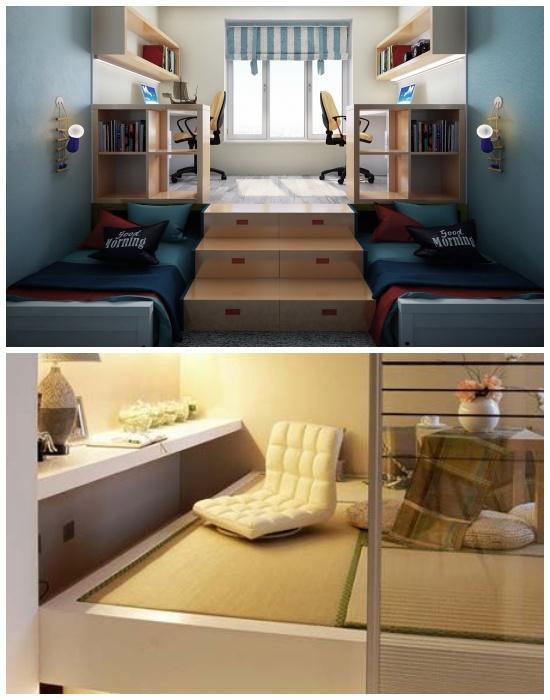 Совмещенный рабочий кабинет и спальня с помощью правильной организации подиума.