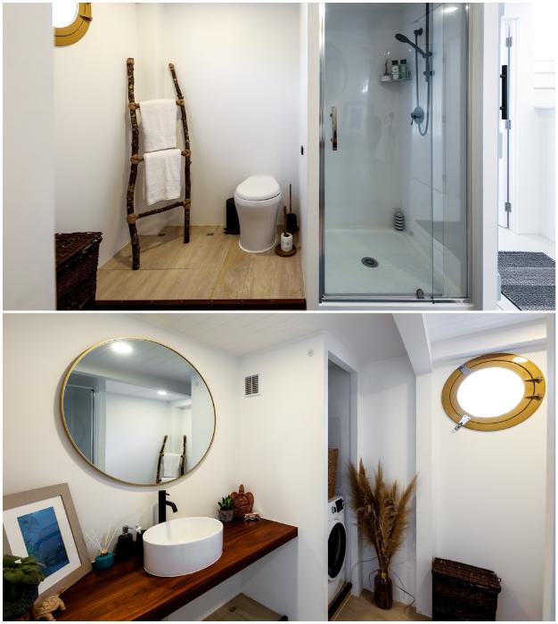 В плавучем доме удалось оборудовать полноценную ванную комнату («Blue Turtle», Окленд). | Фото: livingbiginatinyhouse.com.