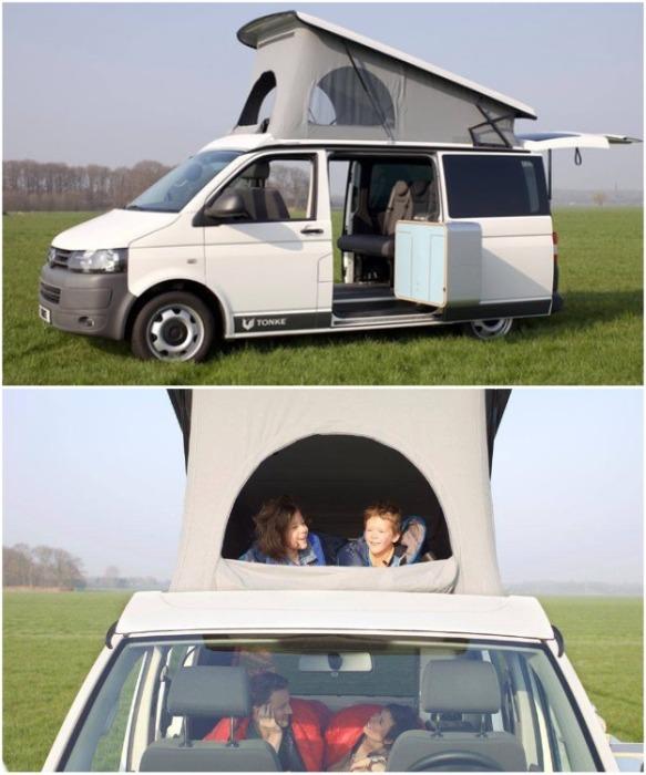 Кемпер Tonke Van легко превращается в уютный дом на колесах для семьи с двумя и более детьми. newatlas.com.
