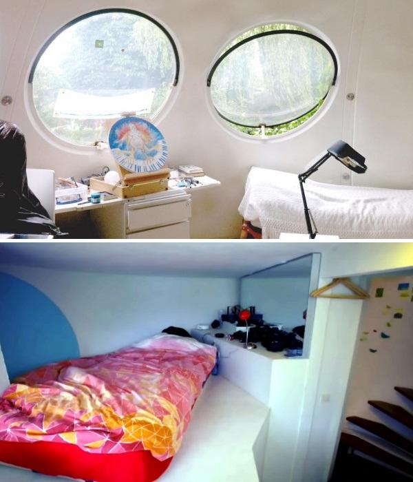 Спальня и рабочее место в странном доме-шаре  (Bolwoningen, Hertogenbosch). | Фото: bubblemania.fr.